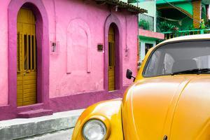 ¡Viva Mexico! Collection - Yellow VW Beetle Car and Colorful House by Philippe Hugonnard