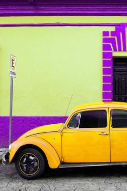 ¡Viva Mexico! Collection - Yellow VW Beetle Car and Colorful Wall by Philippe Hugonnard