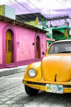 ¡Viva Mexico! Collection - Yellow VW Beetle Car in a Colorful Street by Philippe Hugonnard