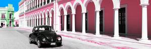¡Viva Mexico! Panoramic Collection - Black VW Beetle and Light Pink Architecture by Philippe Hugonnard