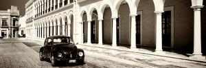 ¡Viva Mexico! Panoramic Collection - Black VW Beetle and Mexican Architecture Sepia by Philippe Hugonnard