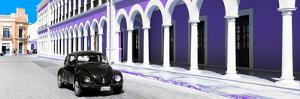 ¡Viva Mexico! Panoramic Collection - Black VW Beetle and Purple Architecture by Philippe Hugonnard