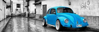 ¡Viva Mexico! Panoramic Collection - Blue VW Beetle Car in San Cristobal de Las Casas by Philippe Hugonnard