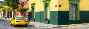 ¡Viva Mexico! Panoramic Collection - Colorful Mexican Street with Yellow Taxi by Philippe Hugonnard