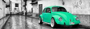 ¡Viva Mexico! Panoramic Collection - Coral Green VW Beetle Car in San Cristobal de Las Casas by Philippe Hugonnard