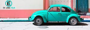 "¡Viva Mexico! Panoramic Collection - ""En Linea Roja"" Turquoise VW Beetle Car by Philippe Hugonnard"