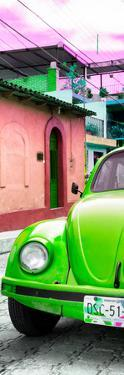 ¡Viva Mexico! Panoramic Collection - Green VW Beetle Car and Colorful Houses by Philippe Hugonnard
