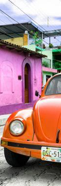 ¡Viva Mexico! Panoramic Collection - Orange VW Beetle Car and Colorful Houses by Philippe Hugonnard