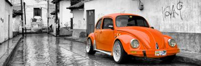 ¡Viva Mexico! Panoramic Collection - Orange VW Beetle Car in San Cristobal de Las Casas by Philippe Hugonnard