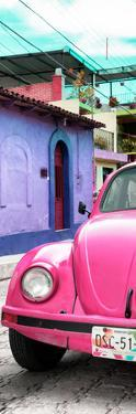 ¡Viva Mexico! Panoramic Collection - Pink VW Beetle Car and Colorful Houses by Philippe Hugonnard