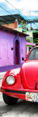 ¡Viva Mexico! Panoramic Collection - Red VW Beetle Car and Colorful Houses by Philippe Hugonnard