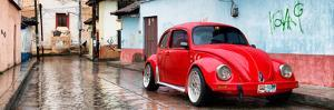 ¡Viva Mexico! Panoramic Collection - Red VW Beetle Car in San Cristobal de Las Casas II by Philippe Hugonnard