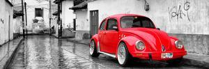 ¡Viva Mexico! Panoramic Collection - Red VW Beetle Car in San Cristobal de Las Casas by Philippe Hugonnard