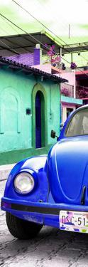 ¡Viva Mexico! Panoramic Collection - Royal Blue VW Beetle Car and Colorful Houses by Philippe Hugonnard