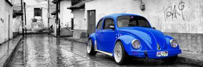 ¡Viva Mexico! Panoramic Collection - Royal Blue VW Beetle Car in San Cristobal de Las Casas by Philippe Hugonnard