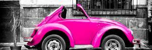 ¡Viva Mexico! Panoramic Collection - Small Deep Pink VW Beetle Car by Philippe Hugonnard