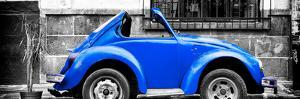 ¡Viva Mexico! Panoramic Collection - Small Royal Blue VW Beetle Car by Philippe Hugonnard
