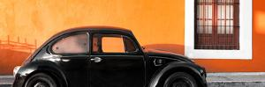 ¡Viva Mexico! Panoramic Collection - The Black VW Beetle Car with Orange Wall by Philippe Hugonnard