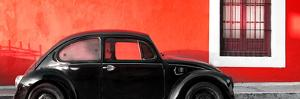 ¡Viva Mexico! Panoramic Collection - The Black VW Beetle Car with Red Wall by Philippe Hugonnard