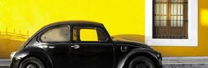 ¡Viva Mexico! Panoramic Collection - The Black VW Beetle Car with Yellow Wall by Philippe Hugonnard