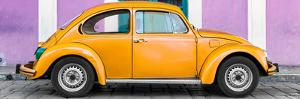 ¡Viva Mexico! Panoramic Collection - The Orange VW Beetle Car with Mauve Street Wall by Philippe Hugonnard