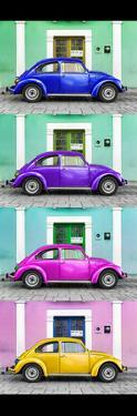 ¡Viva Mexico! Panoramic Collection - The VW Beetle Cars with Colors Street Wall by Philippe Hugonnard