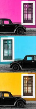 ¡Viva Mexico! Panoramic Collection - Three Black VW Beetle Cars XIII by Philippe Hugonnard
