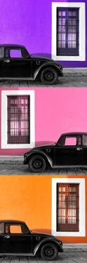 ¡Viva Mexico! Panoramic Collection - Three Black VW Beetle Cars XIV by Philippe Hugonnard