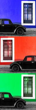 ¡Viva Mexico! Panoramic Collection - Three Black VW Beetle Cars XV by Philippe Hugonnard