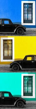 ¡Viva Mexico! Panoramic Collection - Three Black VW Beetle Cars XVI by Philippe Hugonnard