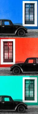¡Viva Mexico! Panoramic Collection - Three Black VW Beetle Cars XVII by Philippe Hugonnard