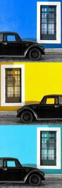 ¡Viva Mexico! Panoramic Collection - Three Black VW Beetle Cars XX by Philippe Hugonnard