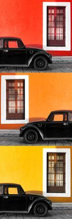¡Viva Mexico! Panoramic Collection - Three Black VW Beetle Cars XXII by Philippe Hugonnard