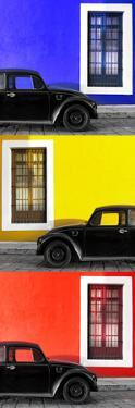 ¡Viva Mexico! Panoramic Collection - Three Black VW Beetle Cars XXV by Philippe Hugonnard