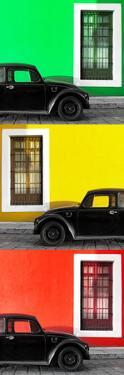¡Viva Mexico! Panoramic Collection - Three Black VW Beetle Cars XXVI by Philippe Hugonnard