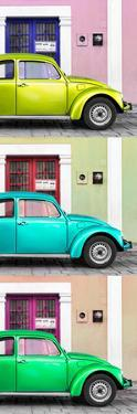 ¡Viva Mexico! Panoramic Collection - Three VW Beetle Cars with Colors Street Wall XXI by Philippe Hugonnard