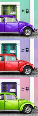 ¡Viva Mexico! Panoramic Collection - Three VW Beetle Cars with Colors Street Wall XXII by Philippe Hugonnard