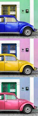 ¡Viva Mexico! Panoramic Collection - Three VW Beetle Cars with Colors Street Wall XXIII by Philippe Hugonnard