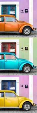 ¡Viva Mexico! Panoramic Collection - Three VW Beetle Cars with Colors Street Wall XXIV by Philippe Hugonnard