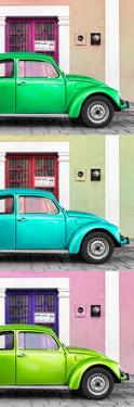 ¡Viva Mexico! Panoramic Collection - Three VW Beetle Cars with Colors Street Wall XXIX by Philippe Hugonnard