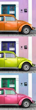 ¡Viva Mexico! Panoramic Collection - Three VW Beetle Cars with Colors Street Wall XXV by Philippe Hugonnard