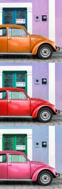 ¡Viva Mexico! Panoramic Collection - Three VW Beetle Cars with Colors Street Wall XXVI by Philippe Hugonnard