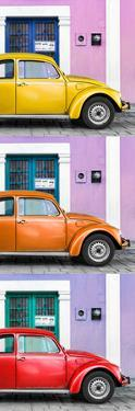 ¡Viva Mexico! Panoramic Collection - Three VW Beetle Cars with Colors Street Wall XXVII by Philippe Hugonnard
