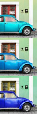 ¡Viva Mexico! Panoramic Collection - Three VW Beetle Cars with Colors Street Wall XXVIII by Philippe Hugonnard