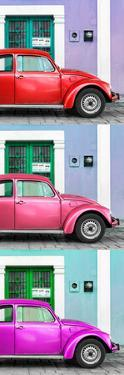 ¡Viva Mexico! Panoramic Collection - Three VW Beetle Cars with Colors Street Wall XXX by Philippe Hugonnard