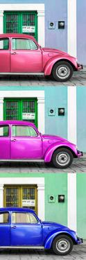¡Viva Mexico! Panoramic Collection - Three VW Beetle Cars with Colors Street Wall XXXI by Philippe Hugonnard