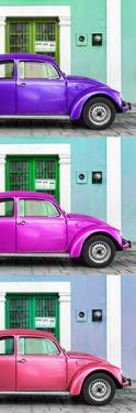 ¡Viva Mexico! Panoramic Collection - Three VW Beetle Cars with Colors Street Wall XXXII by Philippe Hugonnard