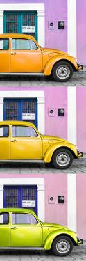 ¡Viva Mexico! Panoramic Collection - Three VW Beetle Cars with Colors Street Wall XXXIII by Philippe Hugonnard