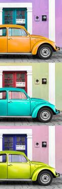 ¡Viva Mexico! Panoramic Collection - Three VW Beetle Cars with Colors Street Wall XXXIV by Philippe Hugonnard