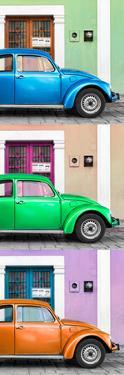 ¡Viva Mexico! Panoramic Collection - Three VW Beetle Cars with Colors Street Wall XXXIX by Philippe Hugonnard